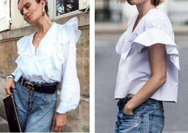 женская модная рубашка: белая с рюшами