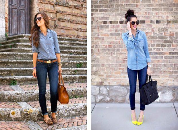 женская рубашка: джинсовая