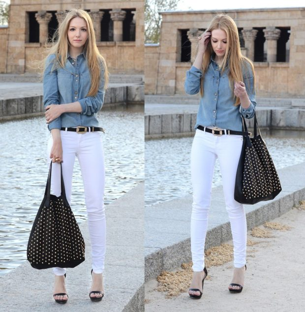 женская рубашка: джинсовая с длинным рукавом