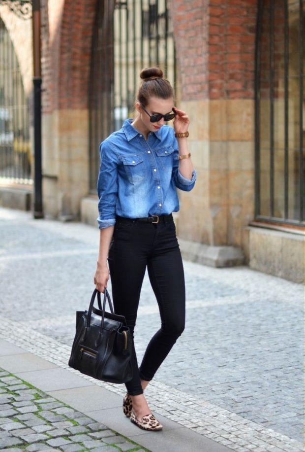 женская рубашка: джинсовая с рукавом