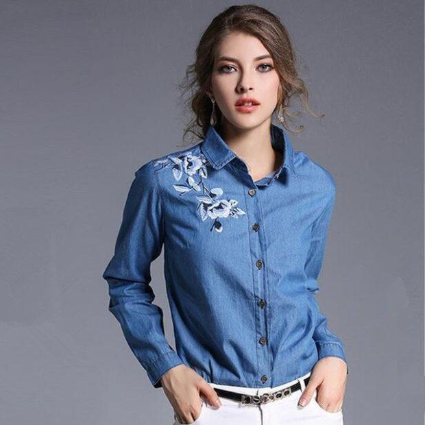 стильные женские рубашки 2019-2020: джинсовая