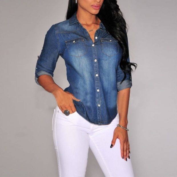 рубашки женские стильные 2018-2019: джинсовая