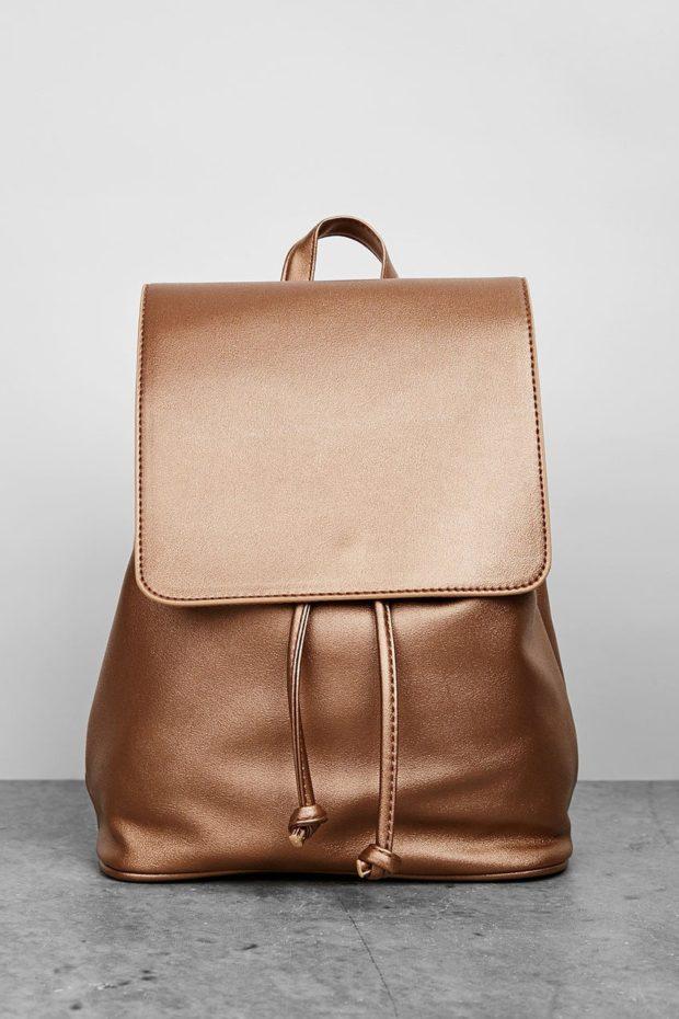 Модные рюкзаки 2019-2020: кожа золотой