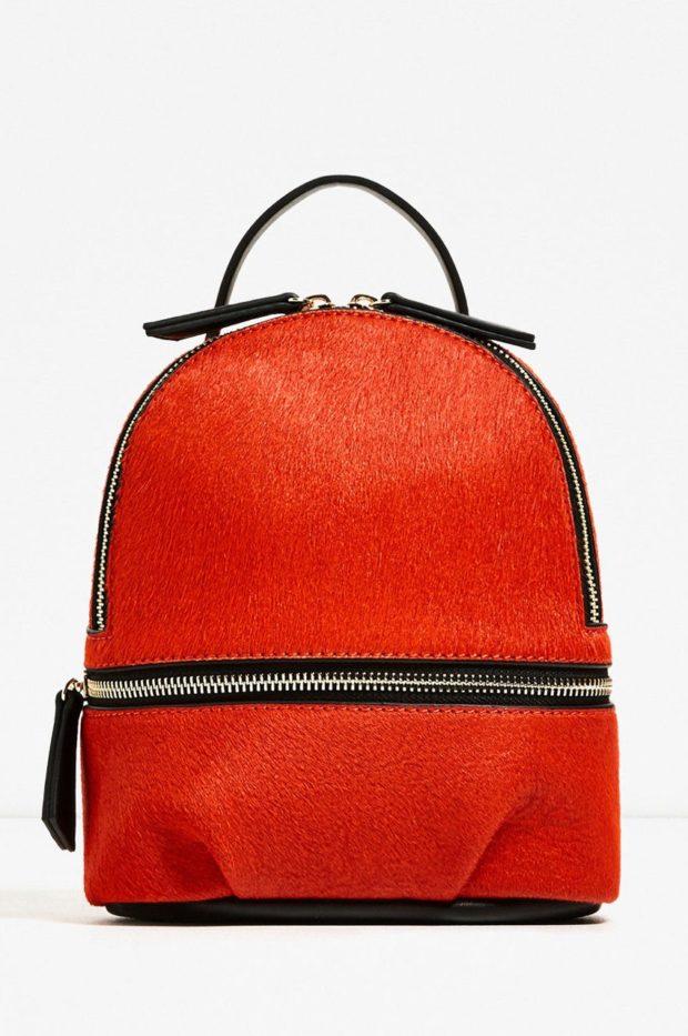 рюкзак из материи оранжевый