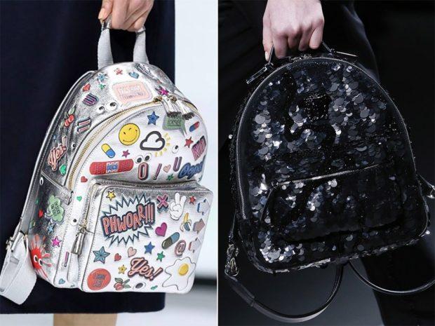 рюкзак серебро в рисунки черный в пайетки