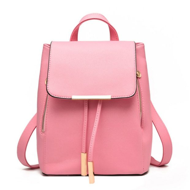 рюкзак розовый кожа