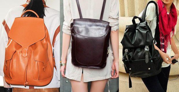 рюкзаки кожаные оранжевый коричневый черный