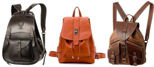 рюкзаки кожаные черный оранжевый коричневый