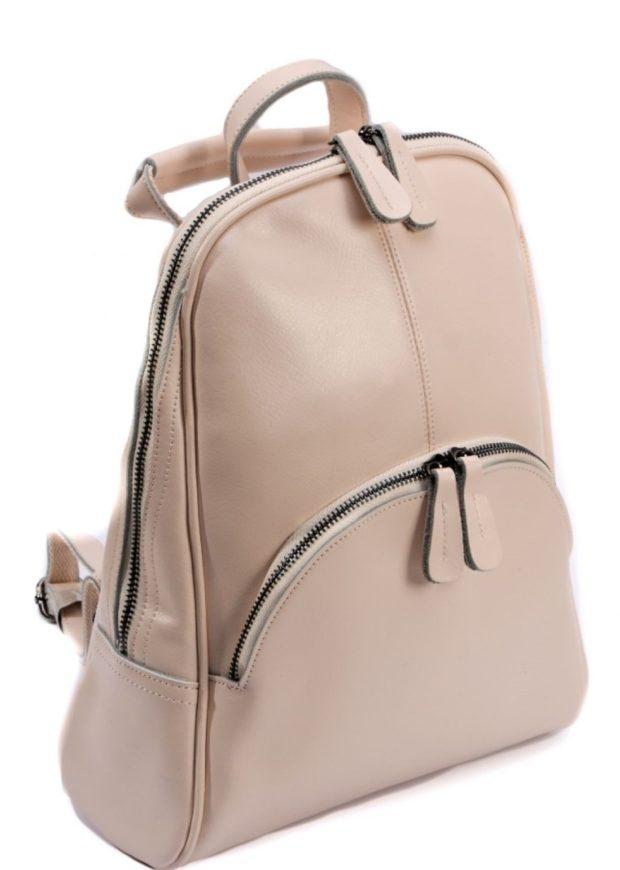 рюкзак кожаный бежевый