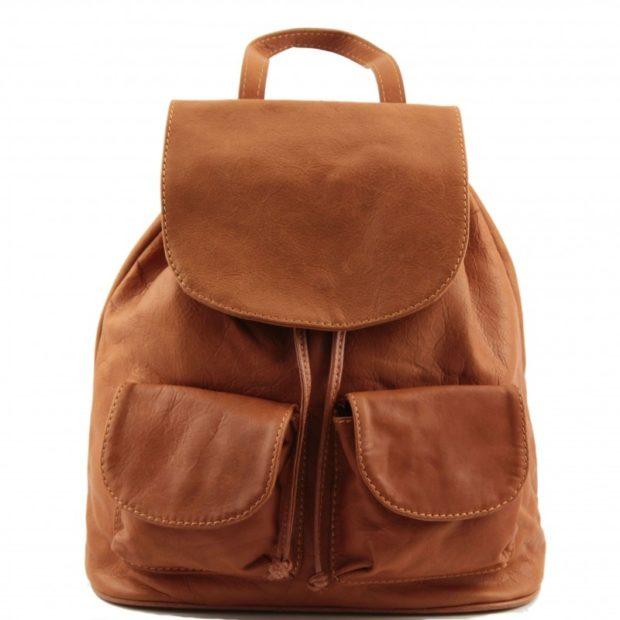 рюкзак кожаный светло-коричневый с двумя карманами накладными