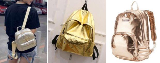 Модные рюкзаки 2019-2020: кожа серебро золотой медный