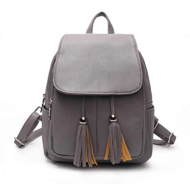 рюкзак кожаный серый с висюльками