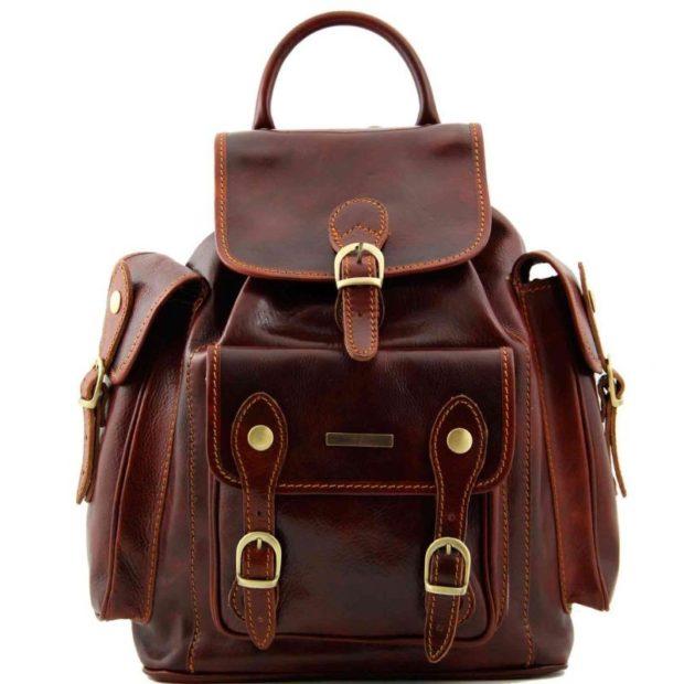 рюкзак кожаный коричневый с большими накладными карманами