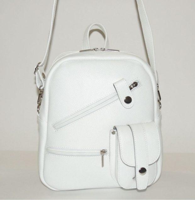 рюкзак кожаный белый трансформер в сумку