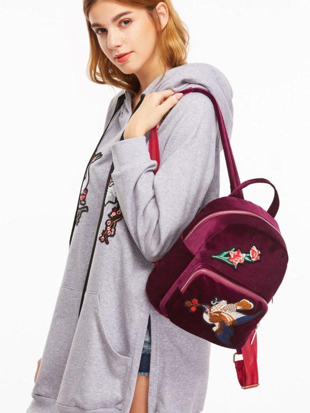 рюкзак бордовый тканевый с нашивками