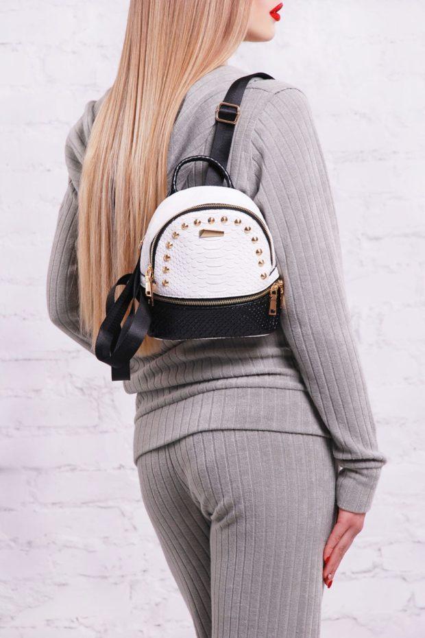 мини-рюкзак белый с черным