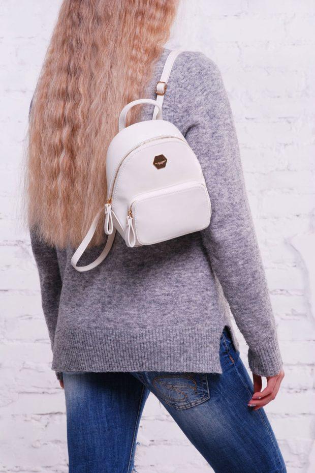 мини-рюкзак белый кожа