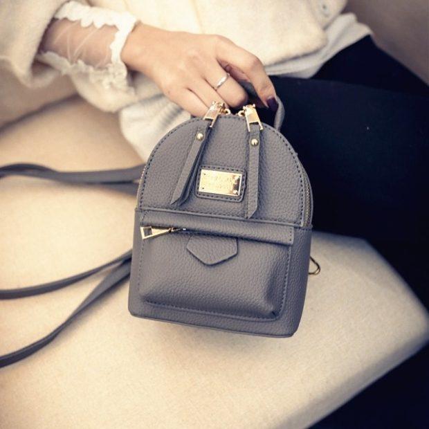 мини-рюкзак серый с ремнем под сумку