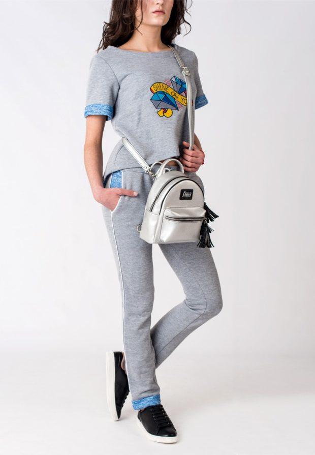мини-рюкзак белый с длинным ремнем