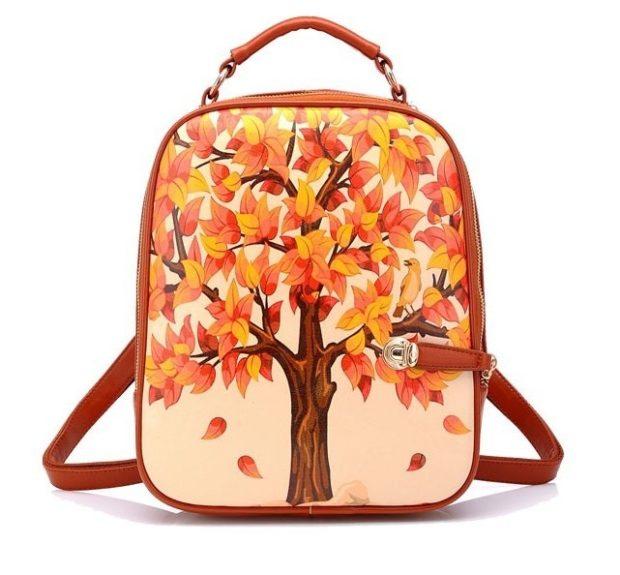 Модные рюкзаки 2019-2020: кожа коричневый с рисунком дерева