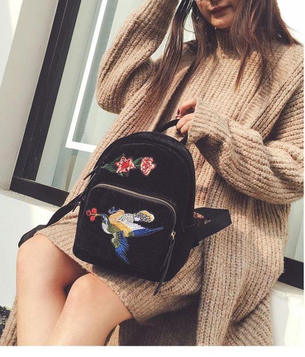 мини-рюкзак черный с вышивкой