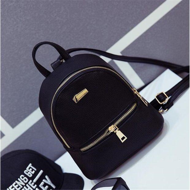 мини-рюкзак черный кожаный