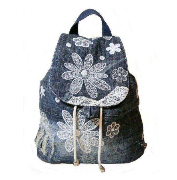 джинсовый рюкзак c вышивкой цветы ромашки