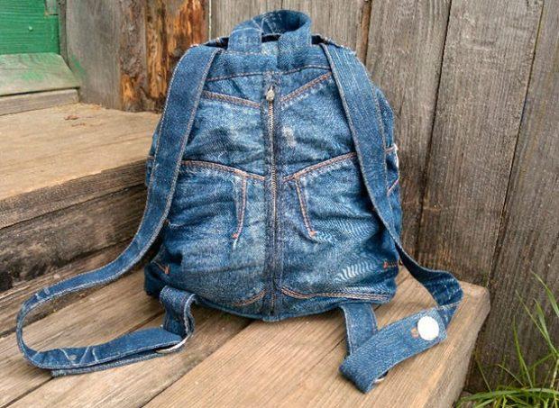 джинсовый рюкзак синий
