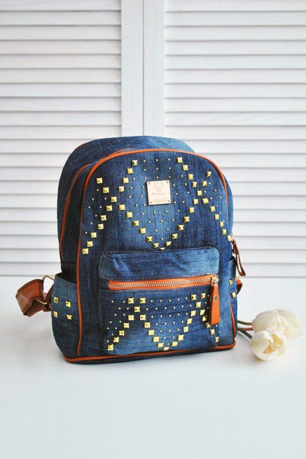 джинсовый рюкзак с заклепками