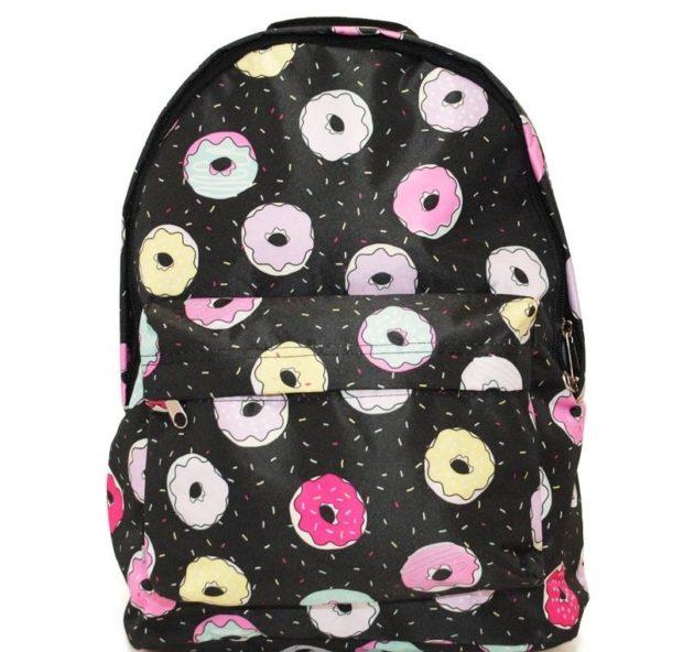 рюкзак тканевый черный в печеньки