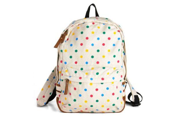 рюкзак тканевый белый в горох цветной