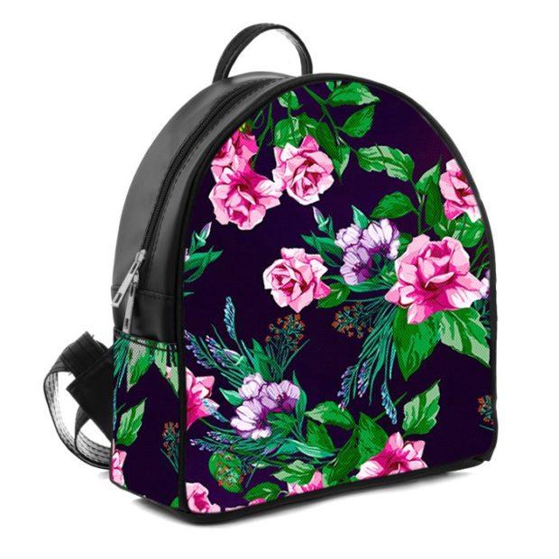 рюкзак кожаный в цветы яркие