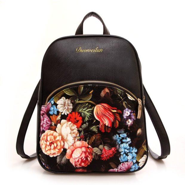 рюкзак кожаный на кармане цветы