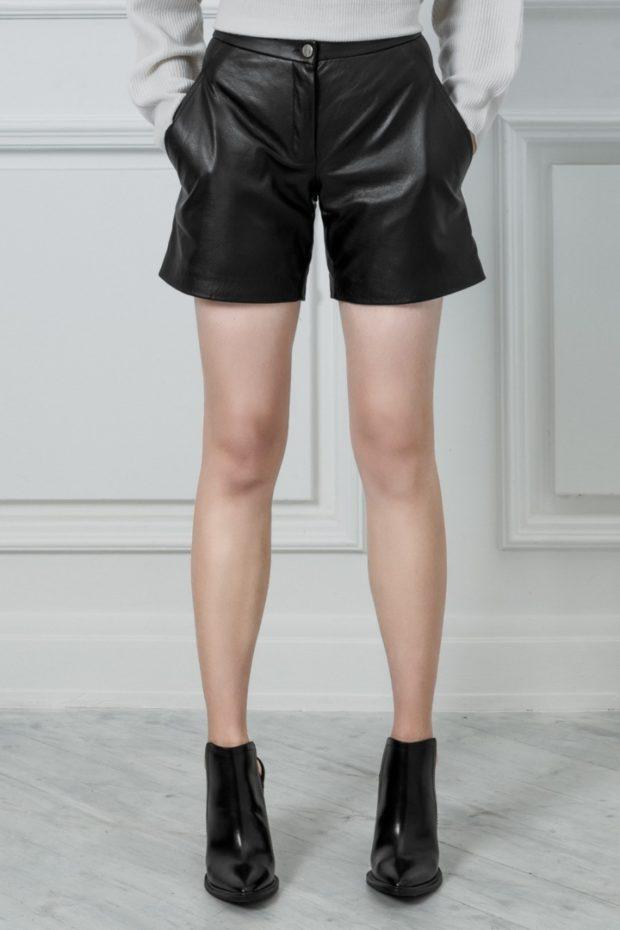 кожаные шорты с карманами