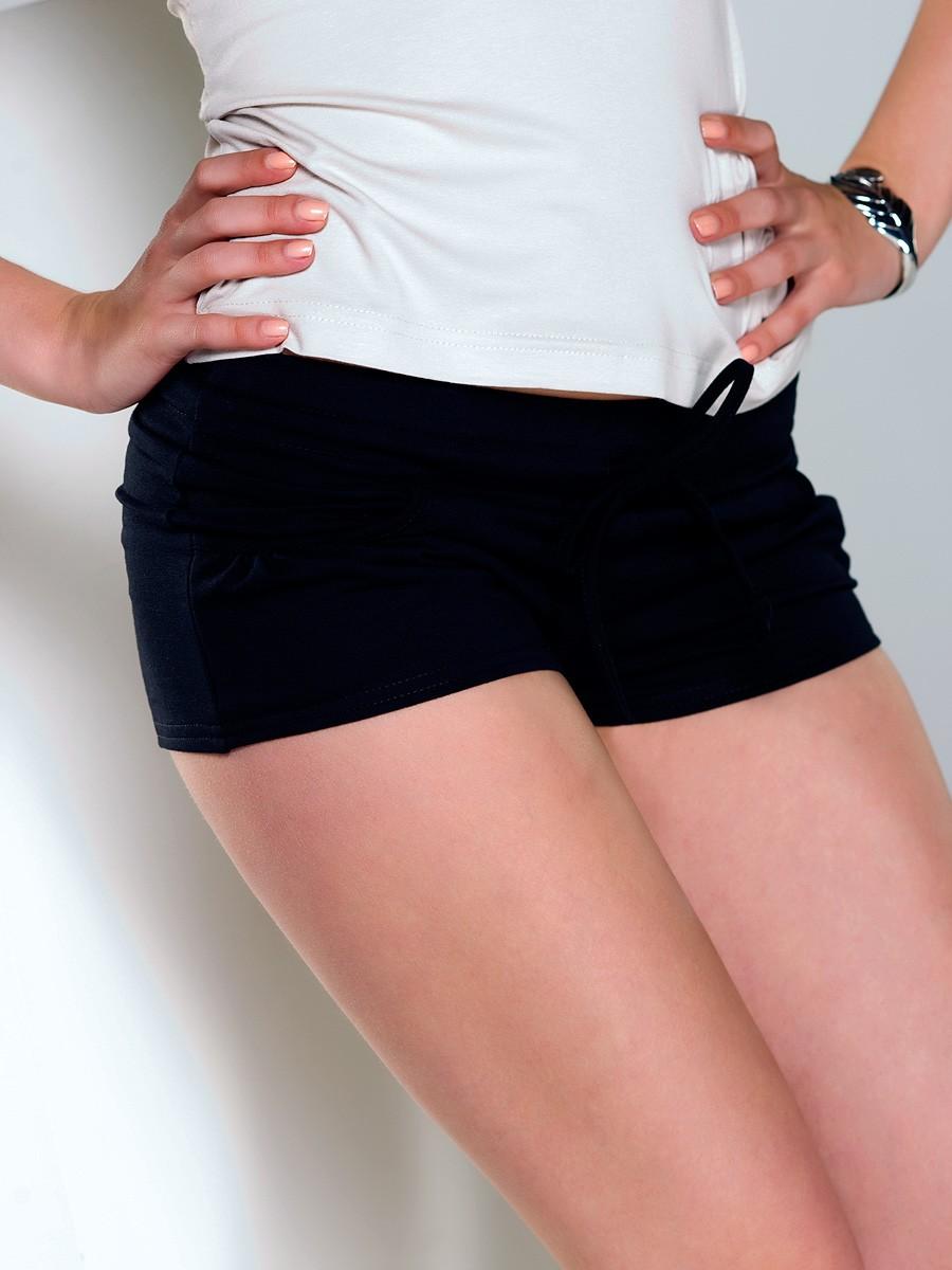 короткие шорты трикотажные черные