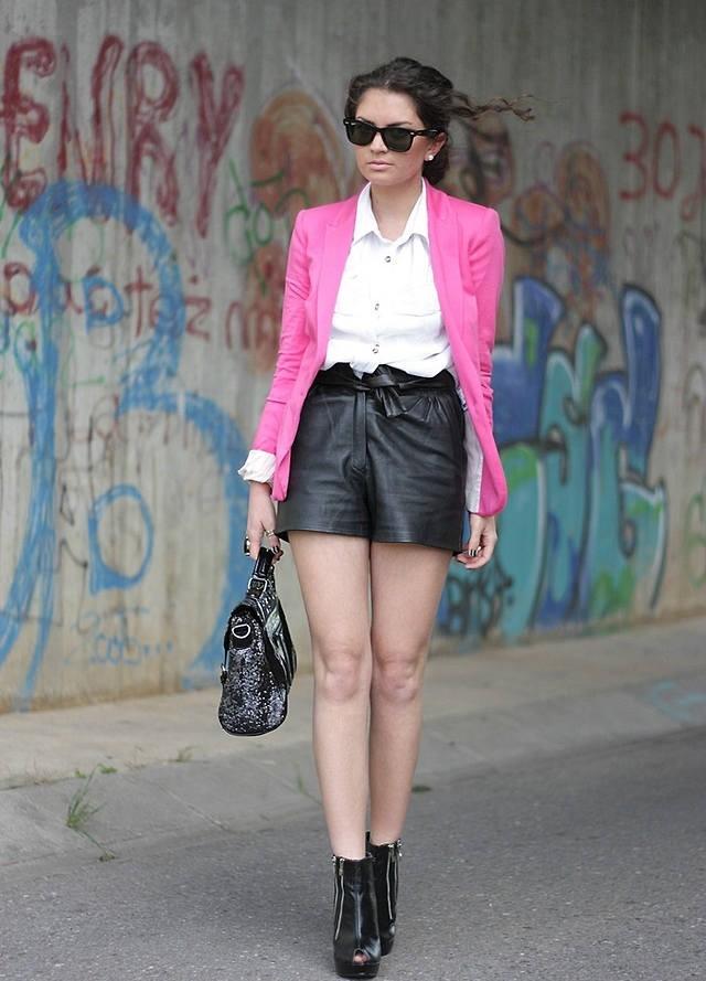 кожаный шорты высокая талия