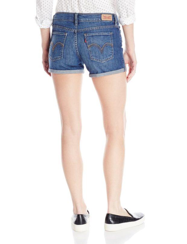 джинсовые шорты с отворотами