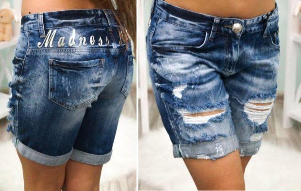 шорты джинсовые удлиненные порезанные потертые