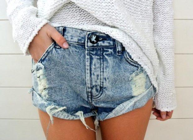 короткие шорты из джинса
