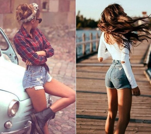 шорты короткие джинсовые высокая талия