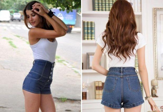 джинсовые шорты высокая талия с пуговками