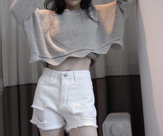 джинсовые шорты белые