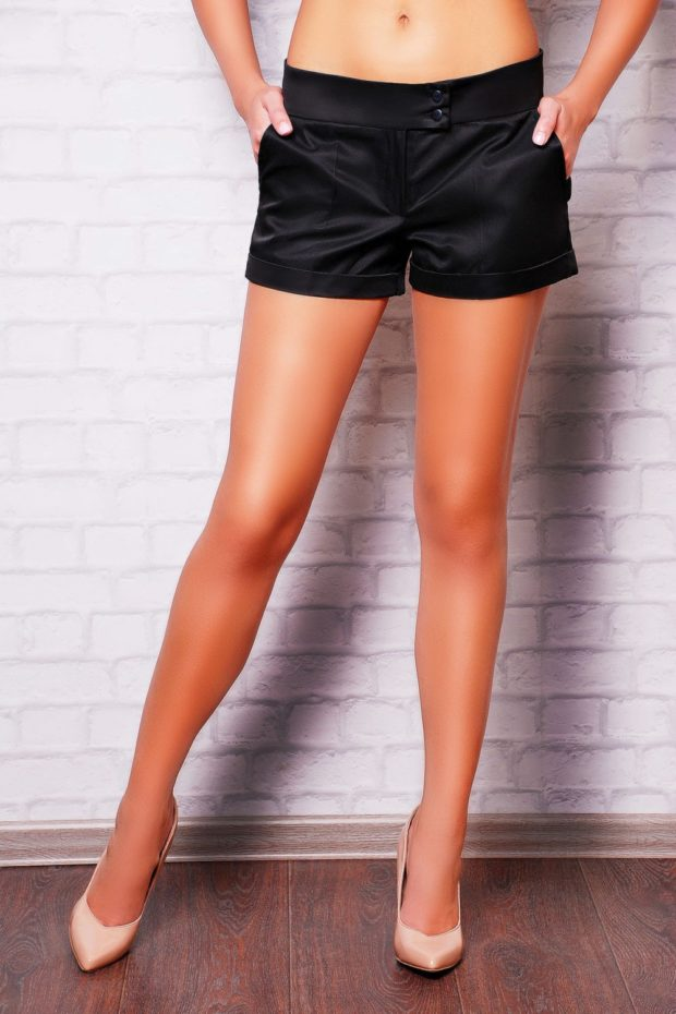 шорты деловой стиль черные с поясом