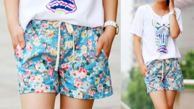 шорты голубые в цветочек яркий