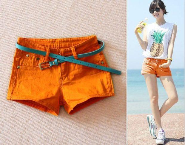 шорты оранжевые короткие