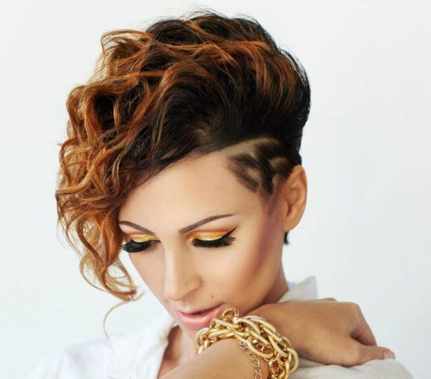 стрижка на короткие волосы 2018 2019 модные тренды: асимметрия выбритая одна сторона с узором