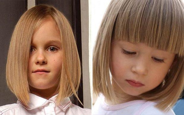 стрижка для девочки: каре без челки с челкой