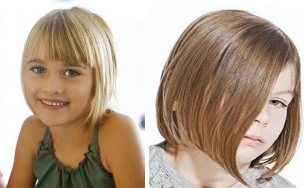 стрижки для девочек: укороченное каре с челкой