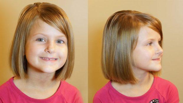 стрижки для девочек: удлиненное каре с косой челкой