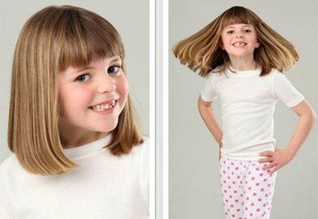 стрижка для девочки: каре с челкой удлиненное